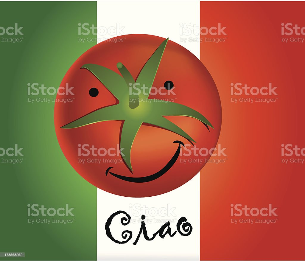 smiling red fresh tomato with italy flag and word ciao royalty-free stock vector art