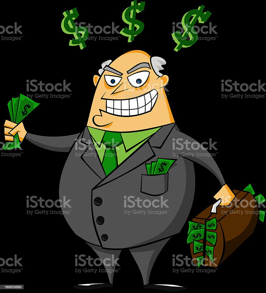 Smiling rich businessman with money vector vector art illustration