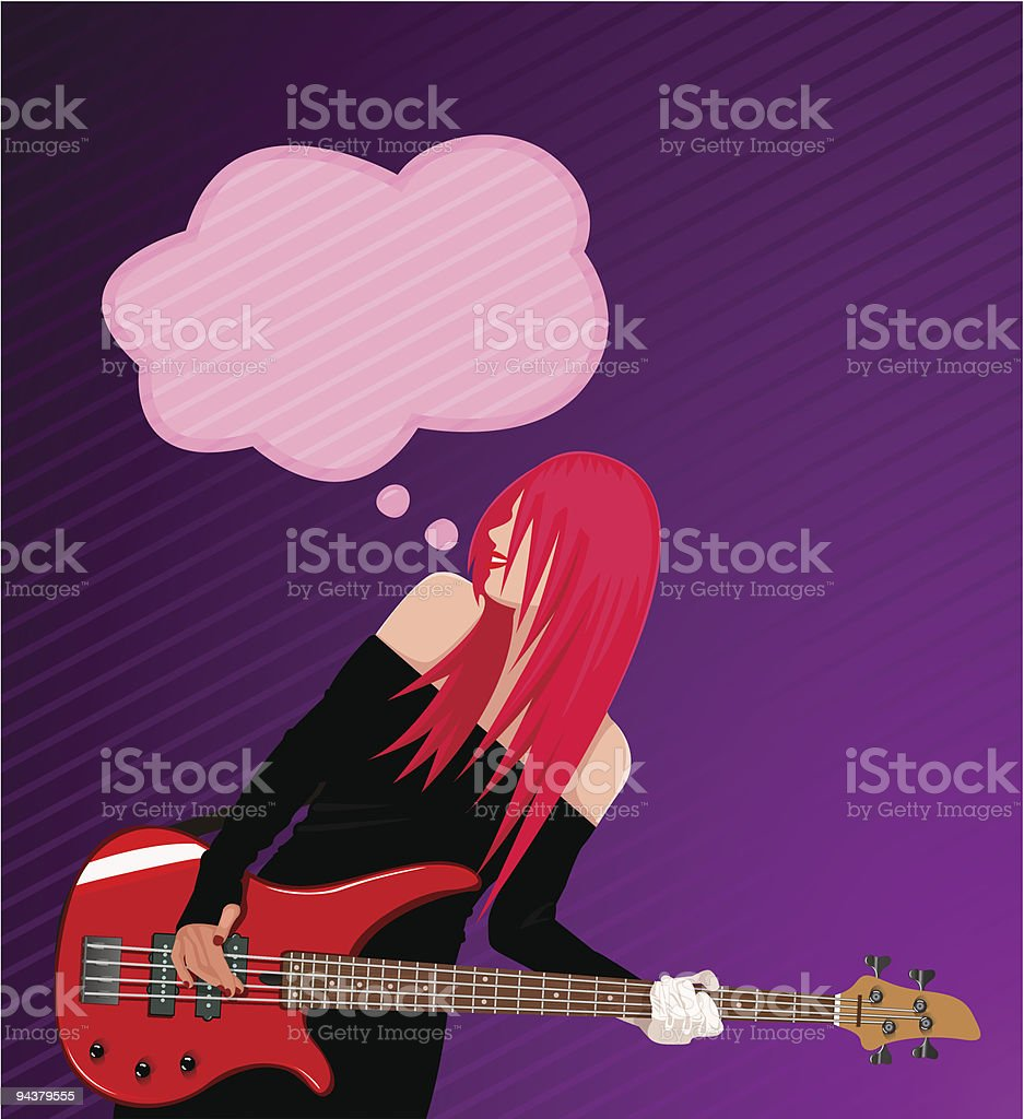 Smiling rock girl with guitar royalty-free stock vector art