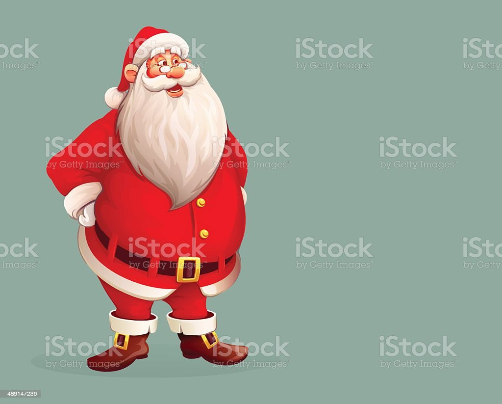 Smiling Santa Claus standing alone vector art illustration