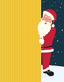 Smiling Santa Claus wearing red hat and glasses holds a