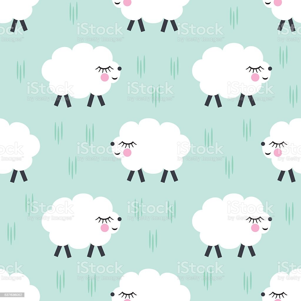 Smiling sheep seamless pattern background. Vector baby sheep illustration. vector art illustration