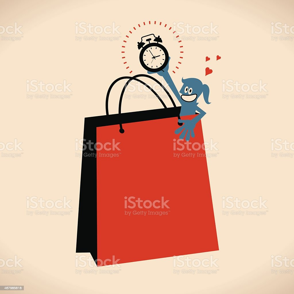 Smiling shopping women with alarm clock and large shopping bag vector art illustration