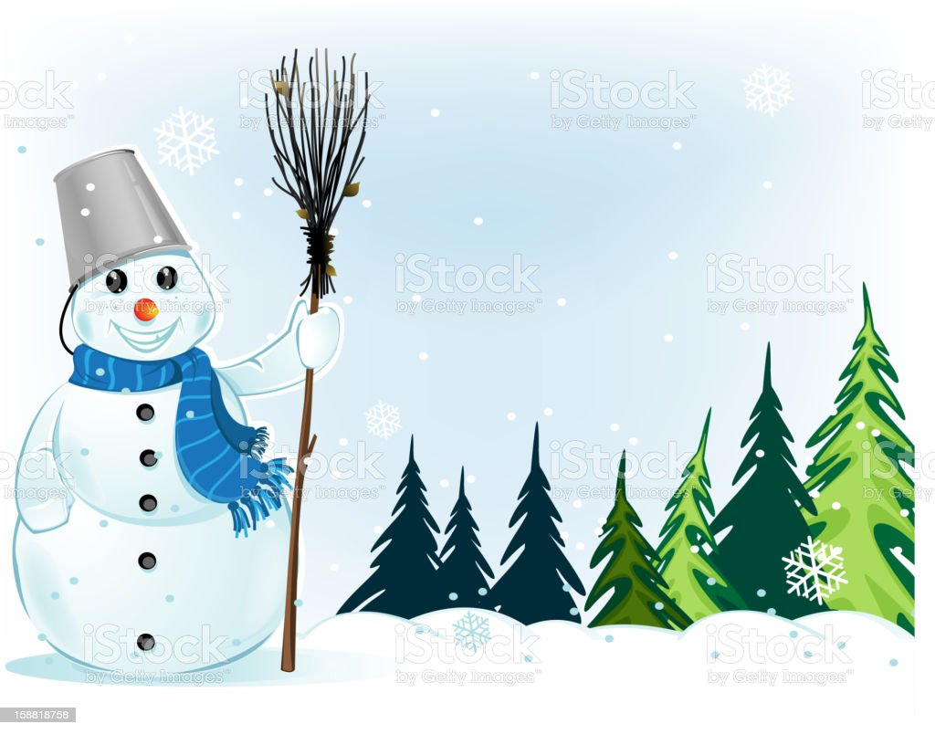 Smiling snowman with broom and bucket royalty-free stock vector art