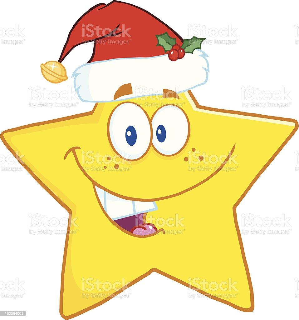 Smiling Star Cartoon Mascot Character With Santa Hat royalty-free stock vector art