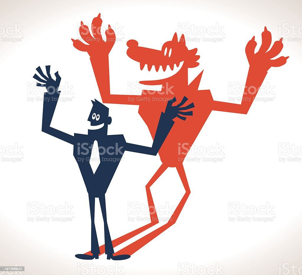 Smiling strong businessman and evil wolf shadow vector art illustration