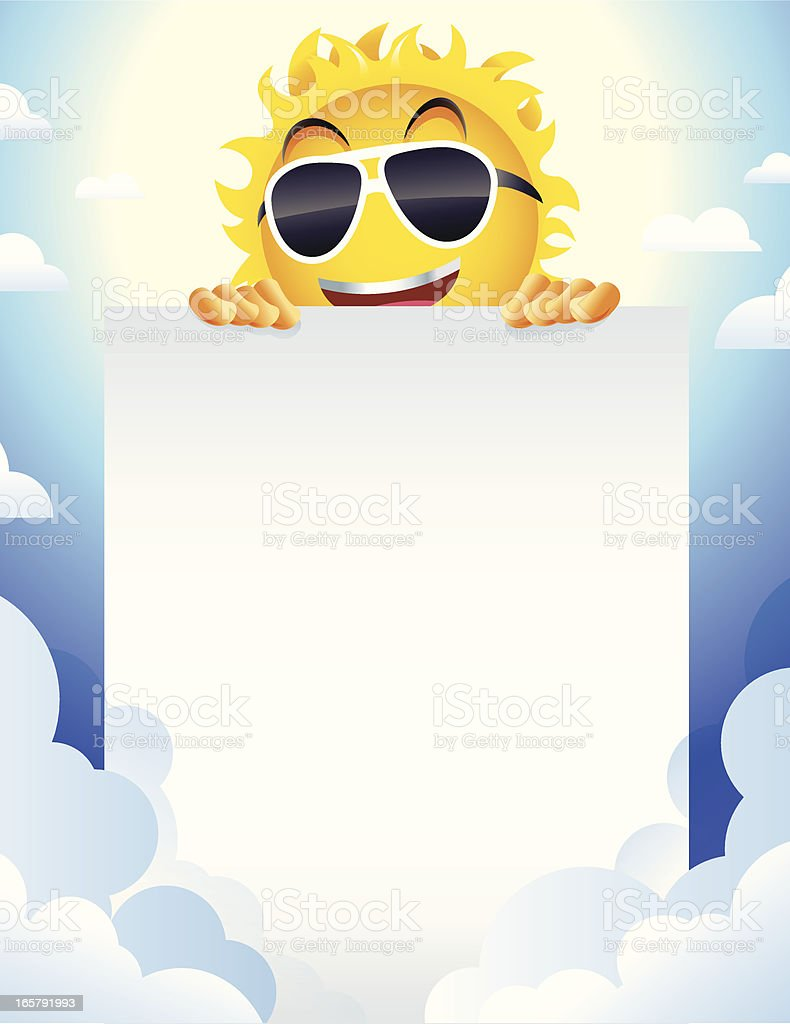 Smiling Summer Sun Cartoon Character with Sign royalty-free stock vector art