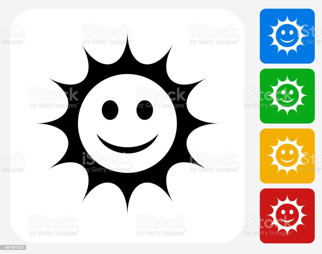 Smiling Sun Icon Flat Graphic Design vector art illustration