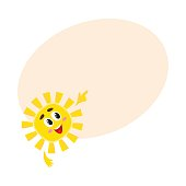Smiling sun pointing to something with its finger, vector illustration