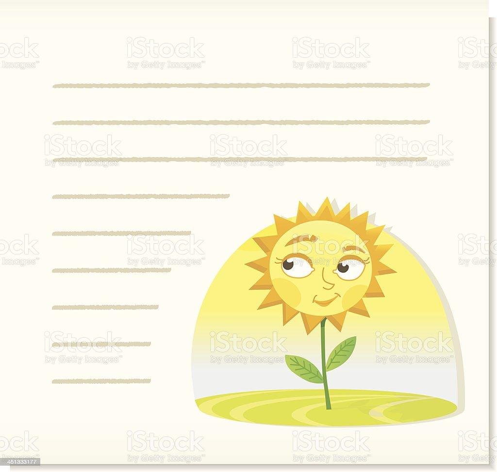 smiling sunflower on noticepaper. royalty-free stock vector art