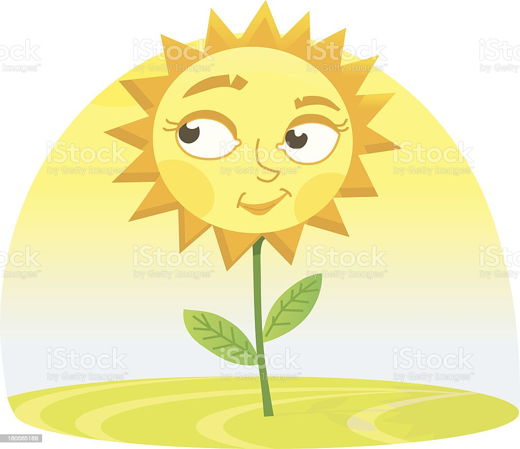 smiling Sunflower royalty-free stock vector art