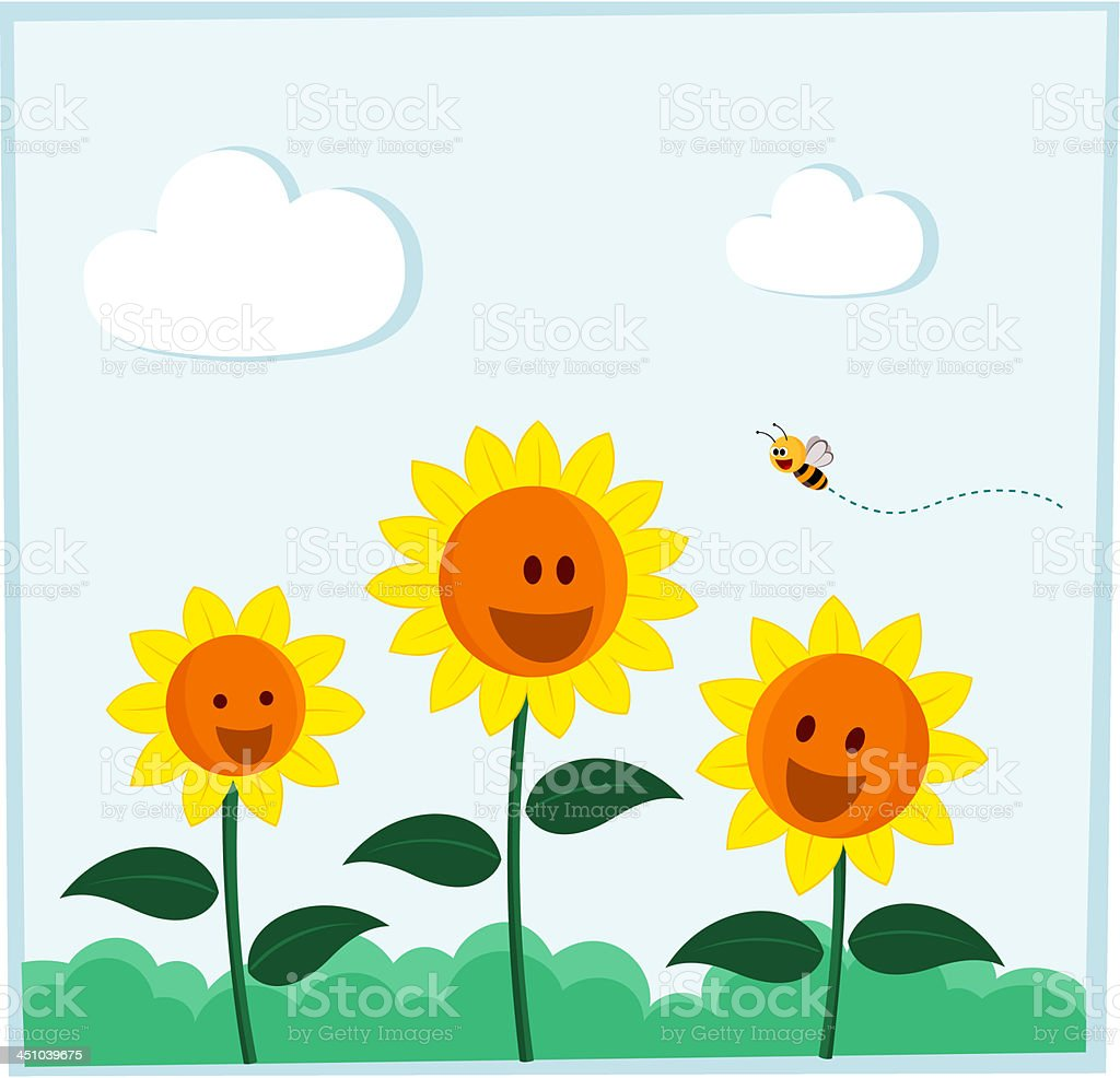 smiling sunflower vector art illustration