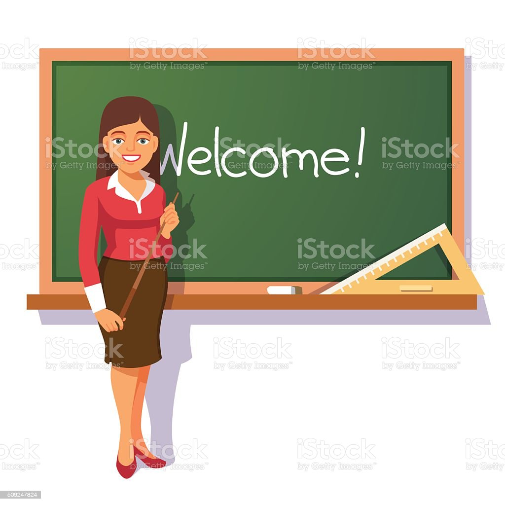 Smiling teacher welcoming students vector art illustration