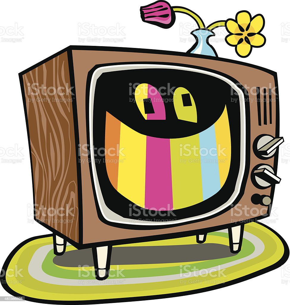 Smiling Television royalty-free stock vector art