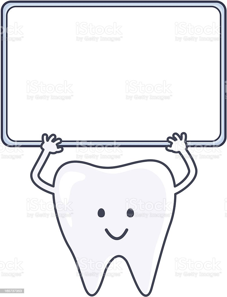smiling tooth holds a blank sign for your text royalty-free stock vector art