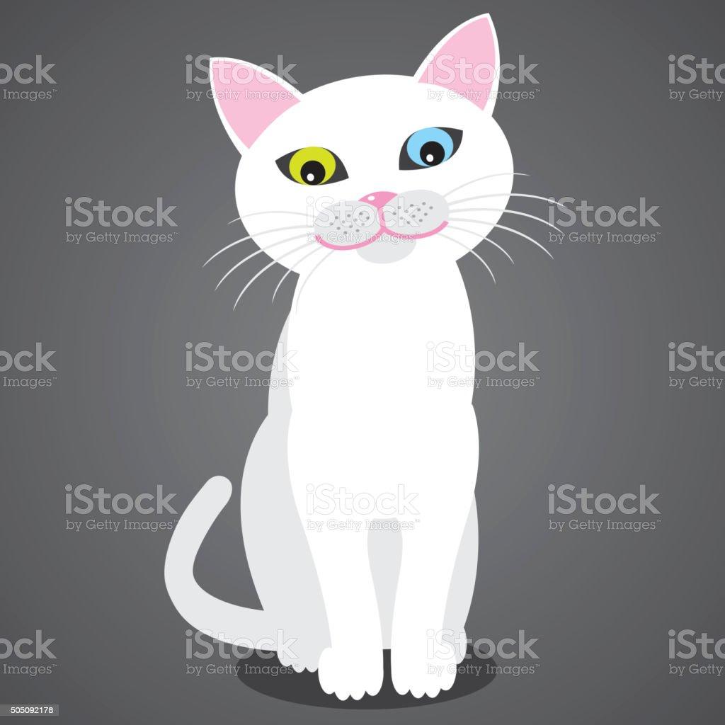 Smiling Turkish Van Cat. Vector vector art illustration