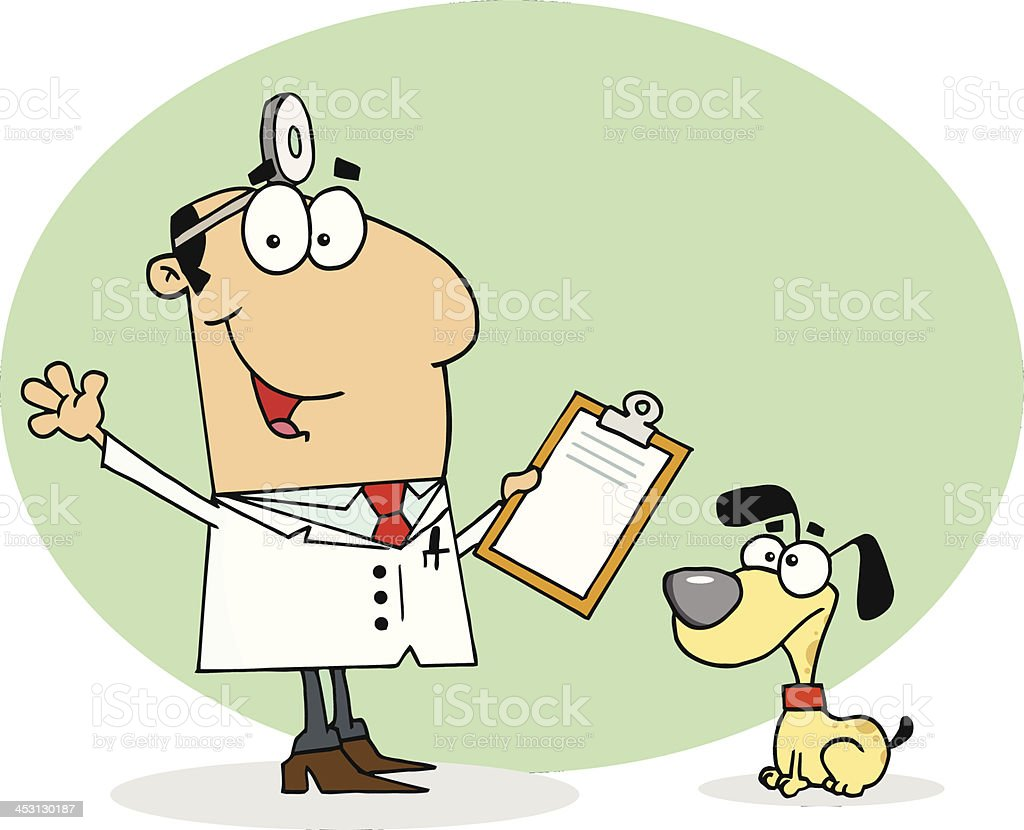 Smiling Veterinarian Next to A Dog With Background royalty-free stock vector art