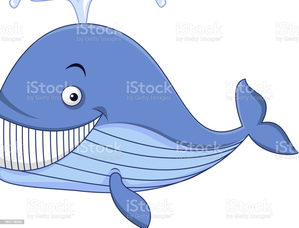 Smiling whale cartoon royalty-free stock vector art