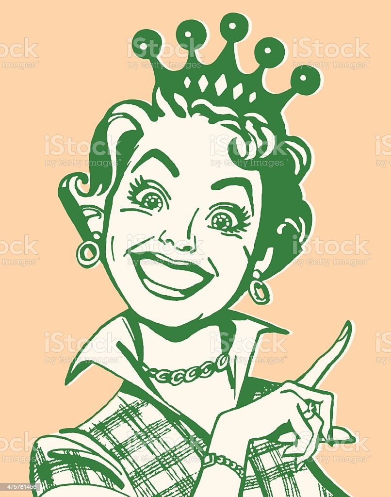 Smiling Woman Pointing and Wearing Crown vector art illustration
