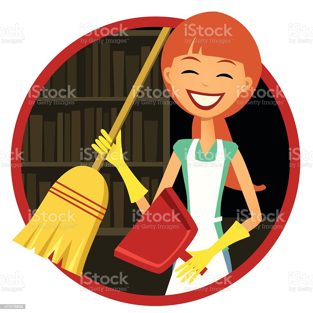 Smiling Woman with Broom and Dust Pan royalty-free stock vector art