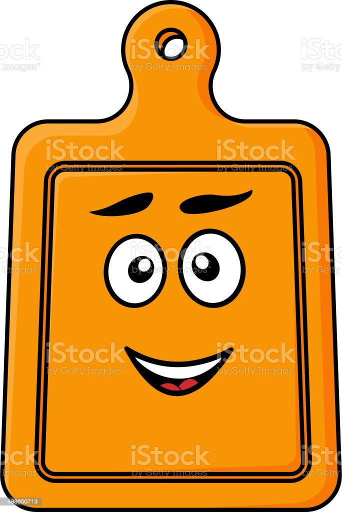 Smiling wooden kitchen chopping board royalty-free stock vector art