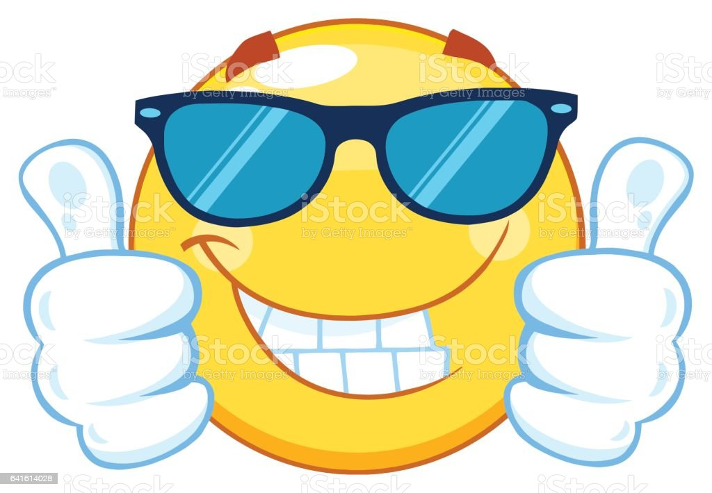Smiling Yellow Emoticon Cartoon Mascot Character With Sunglasses Giving Two Thumbs Up vector art illustration