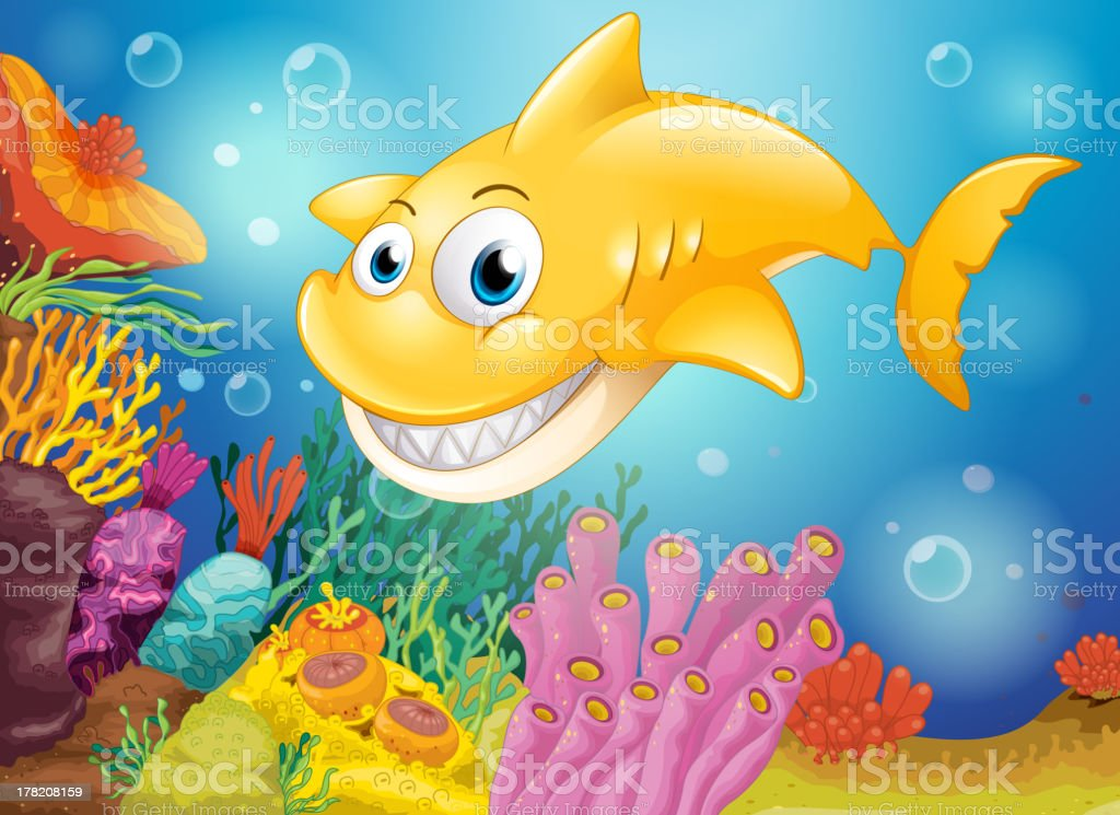 Smiling yellow shark under the sea royalty-free stock vector art
