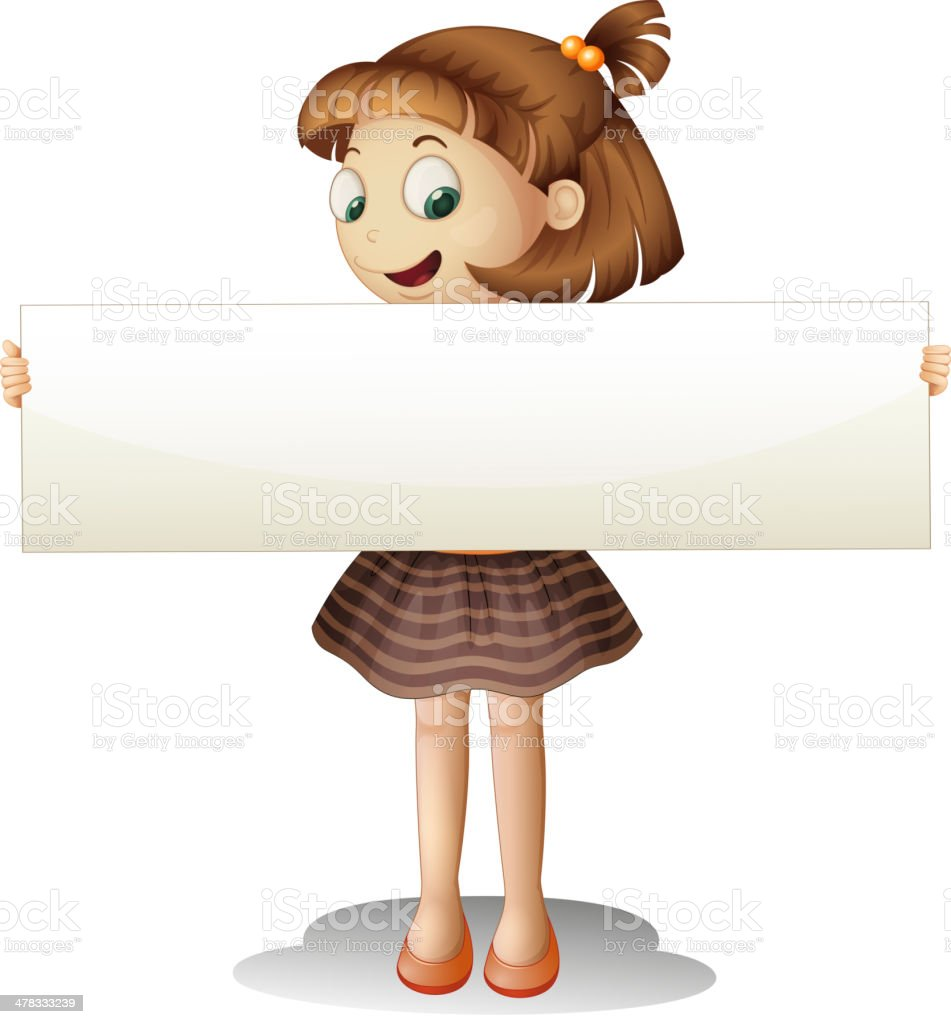 Smiling young girl holding an empty cardboard royalty-free stock vector art