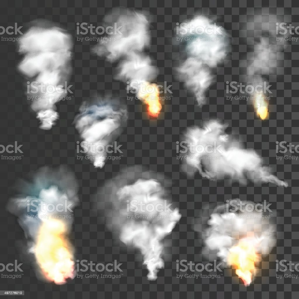 Smoke and fire set vector art illustration
