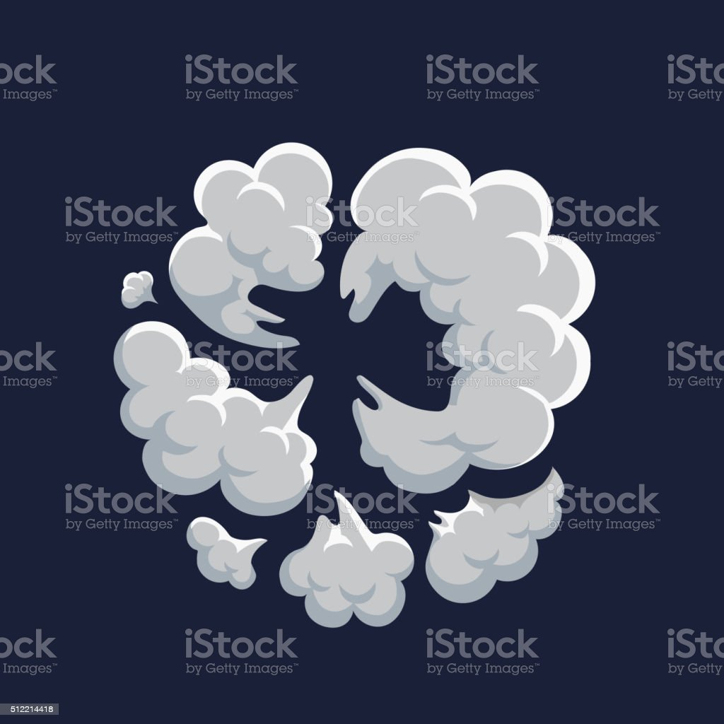 Smoke dust explosion cartoon frame vector art illustration