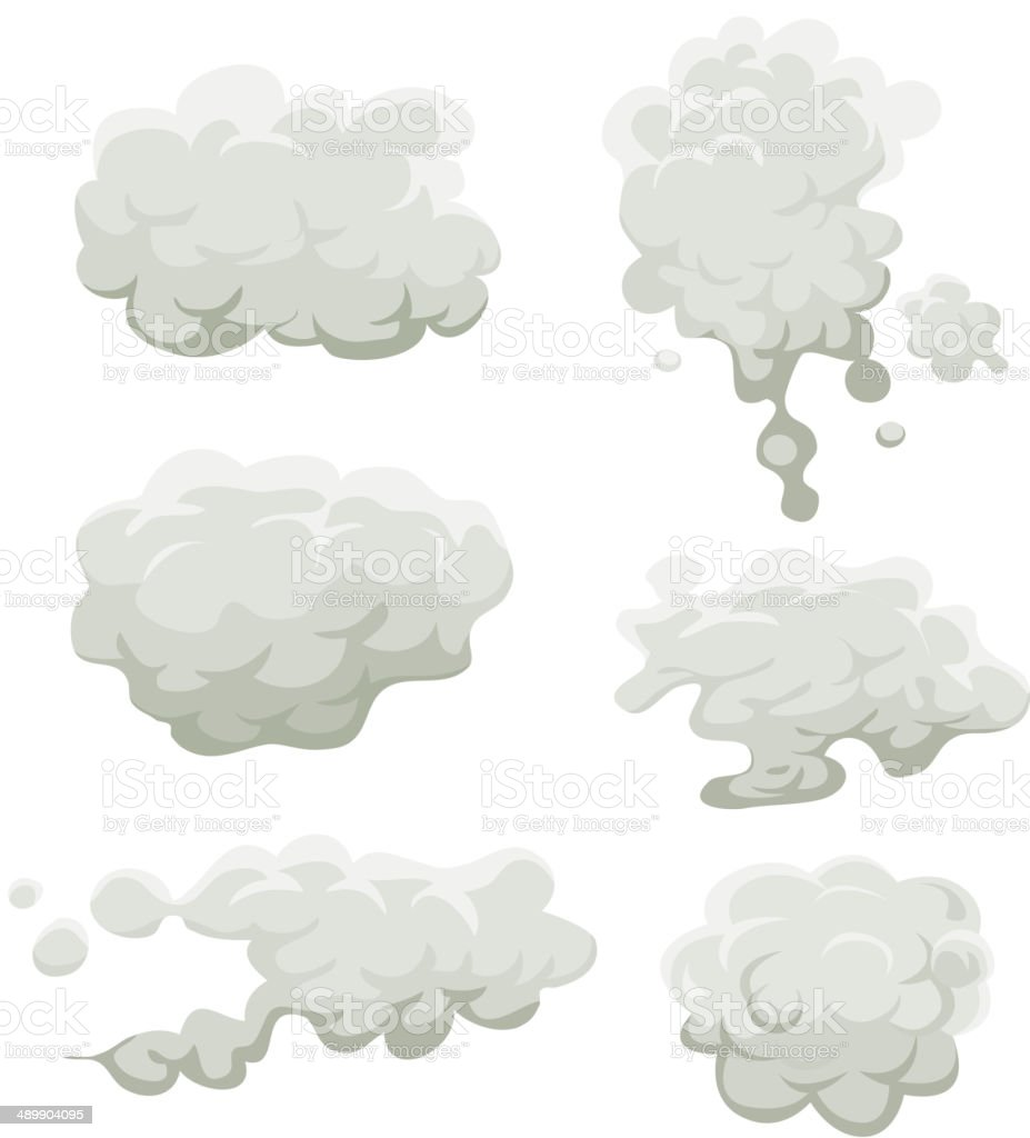 Smoke, Fog And Clouds Set vector art illustration