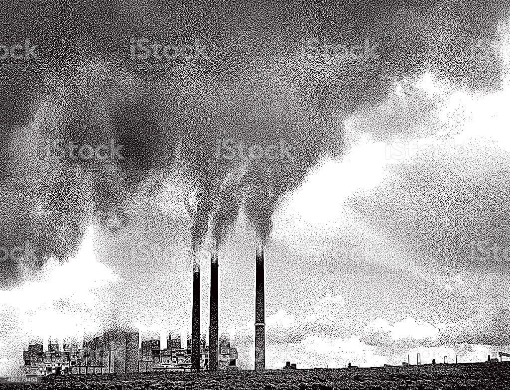 Smoke Pollution from Factory Chimneys vector art illustration