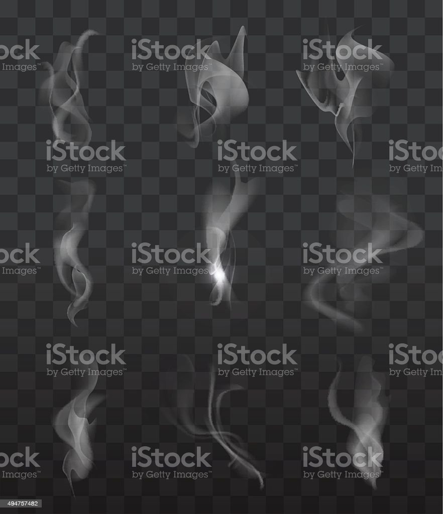 Smoke signs set vector art illustration