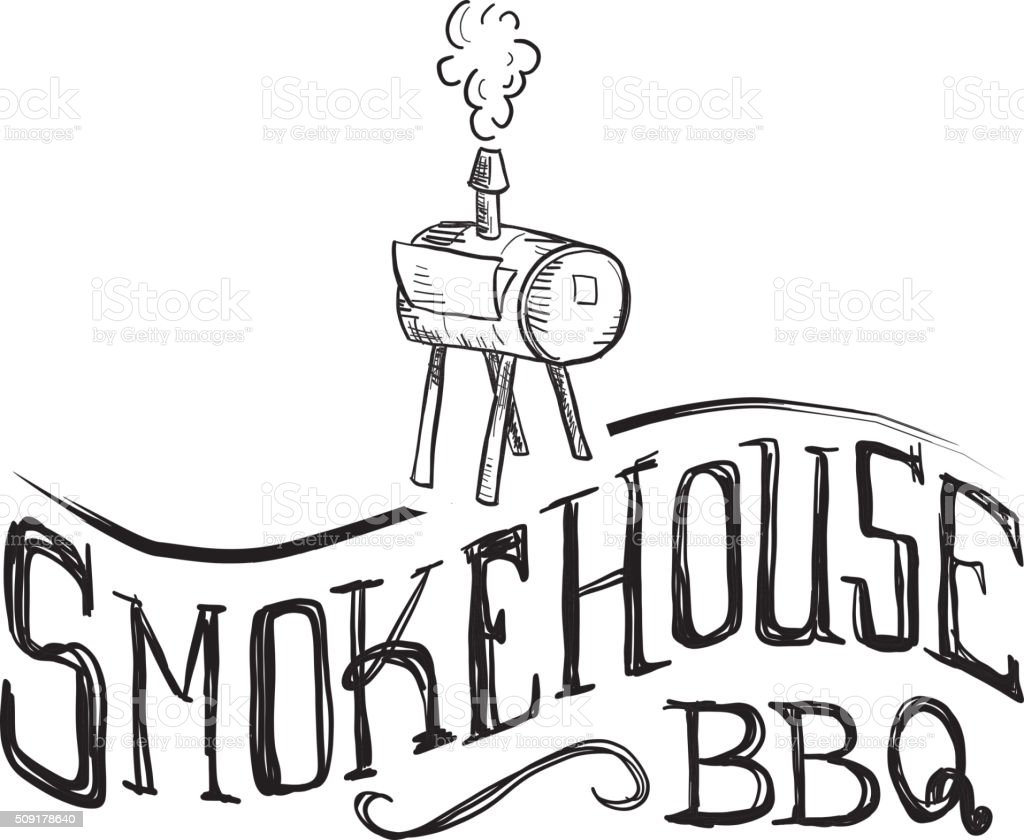 Smokehouse hand lettered text label on white textured vector art illustration