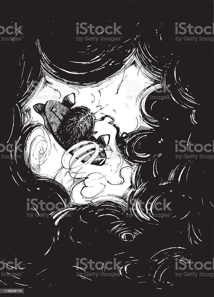smoker in black smoke volumes royalty-free stock vector art