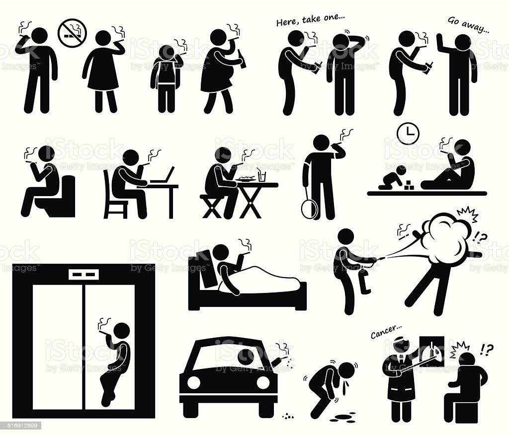 Smokers Smoking Stick Figure Pictogram Icons vector art illustration