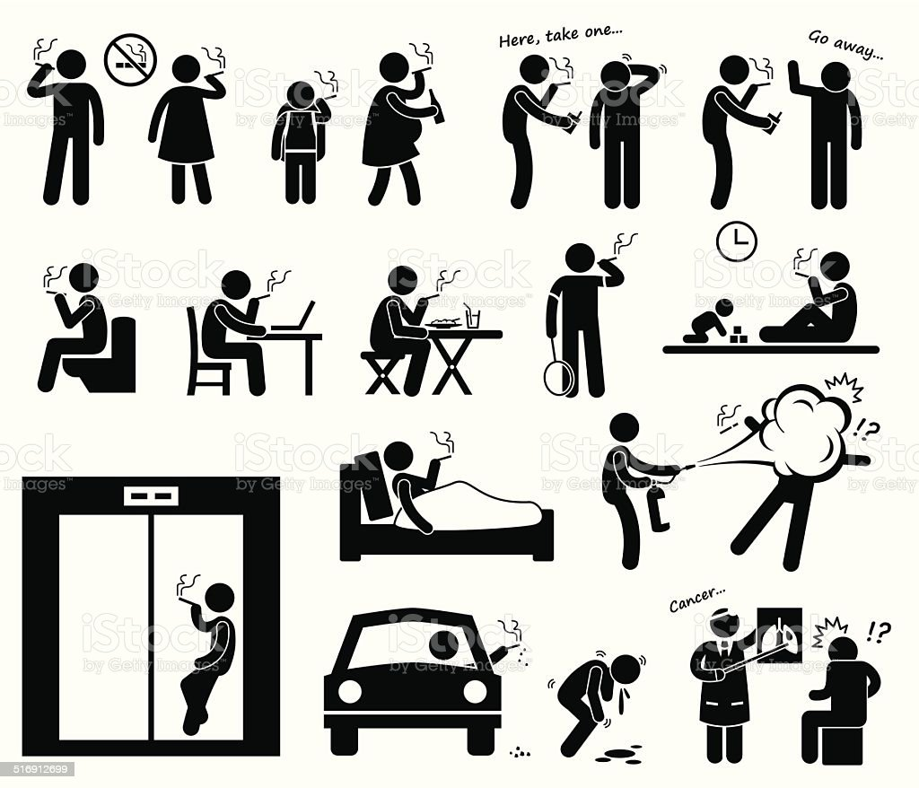 Smokers Smoking Stick Figure Pictogram Icons vector art illustration