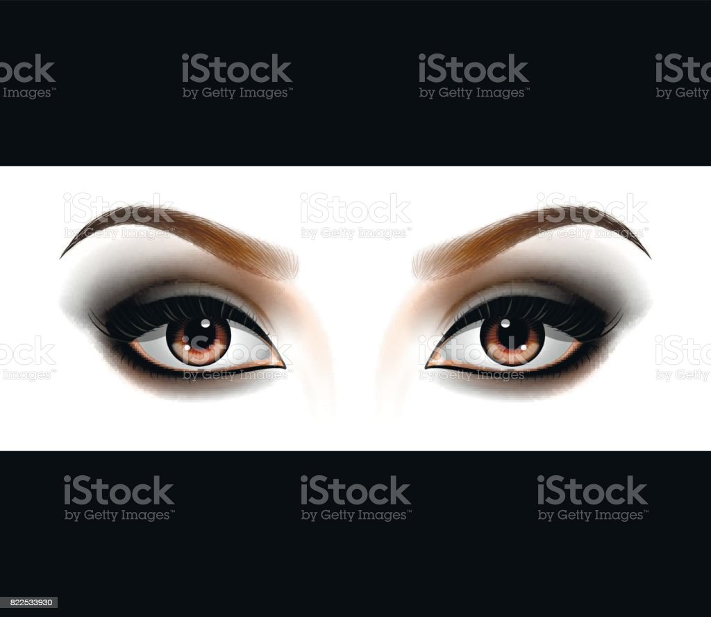 Smokey eyes makeup. vector art illustration