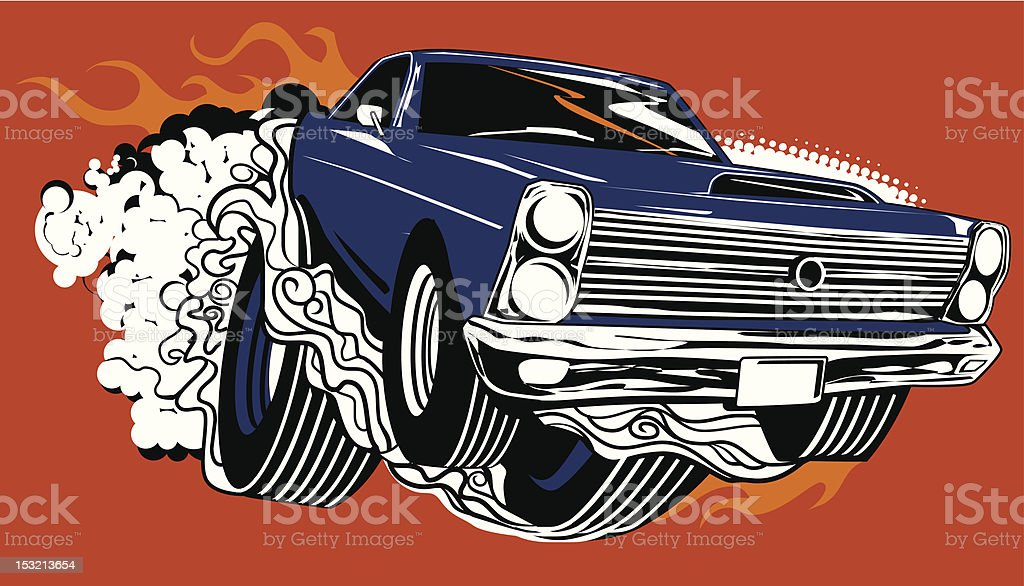 Smokin' Muscle Car vector art illustration