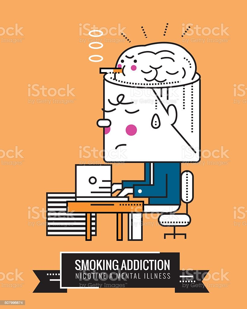 Smoking Addiction. Nicotine a mental illness. vector art illustration