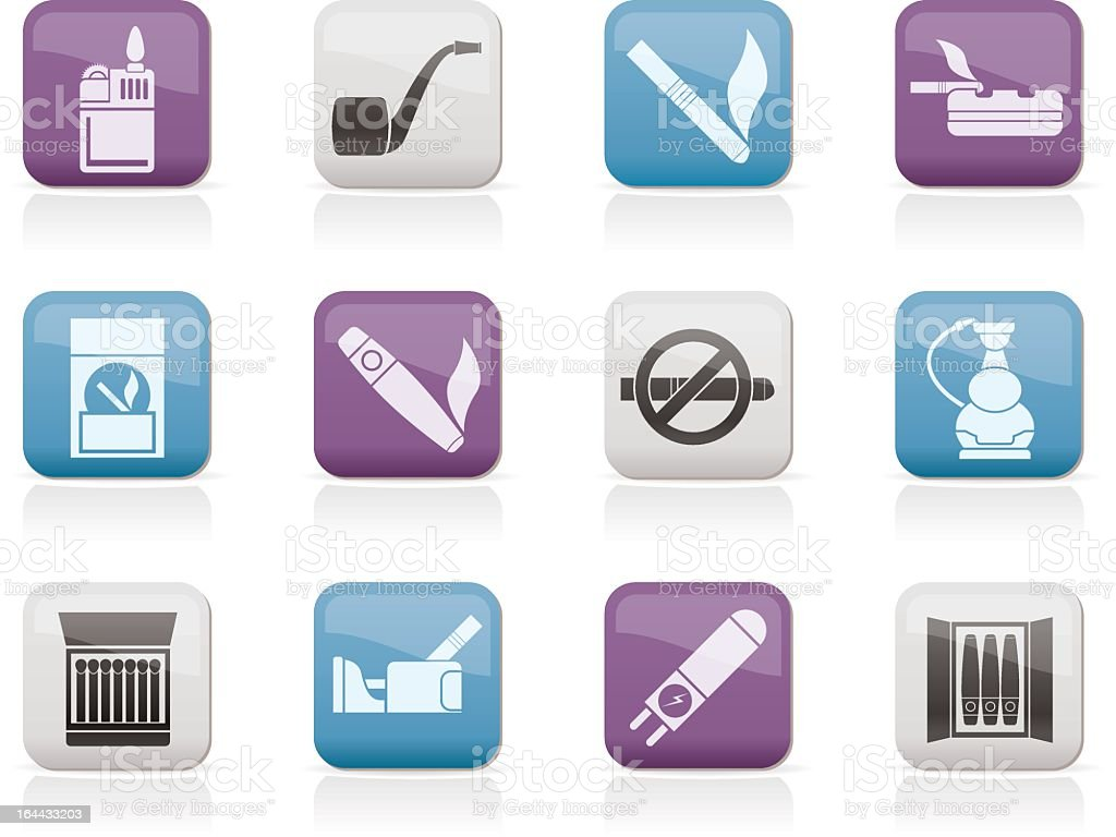 Smoking and cigarette icons royalty-free stock vector art