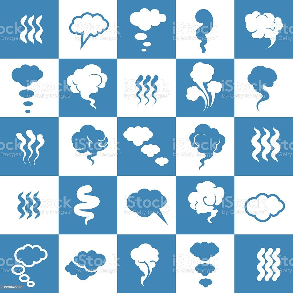 Smoking and steaming silhouette icons vector art illustration