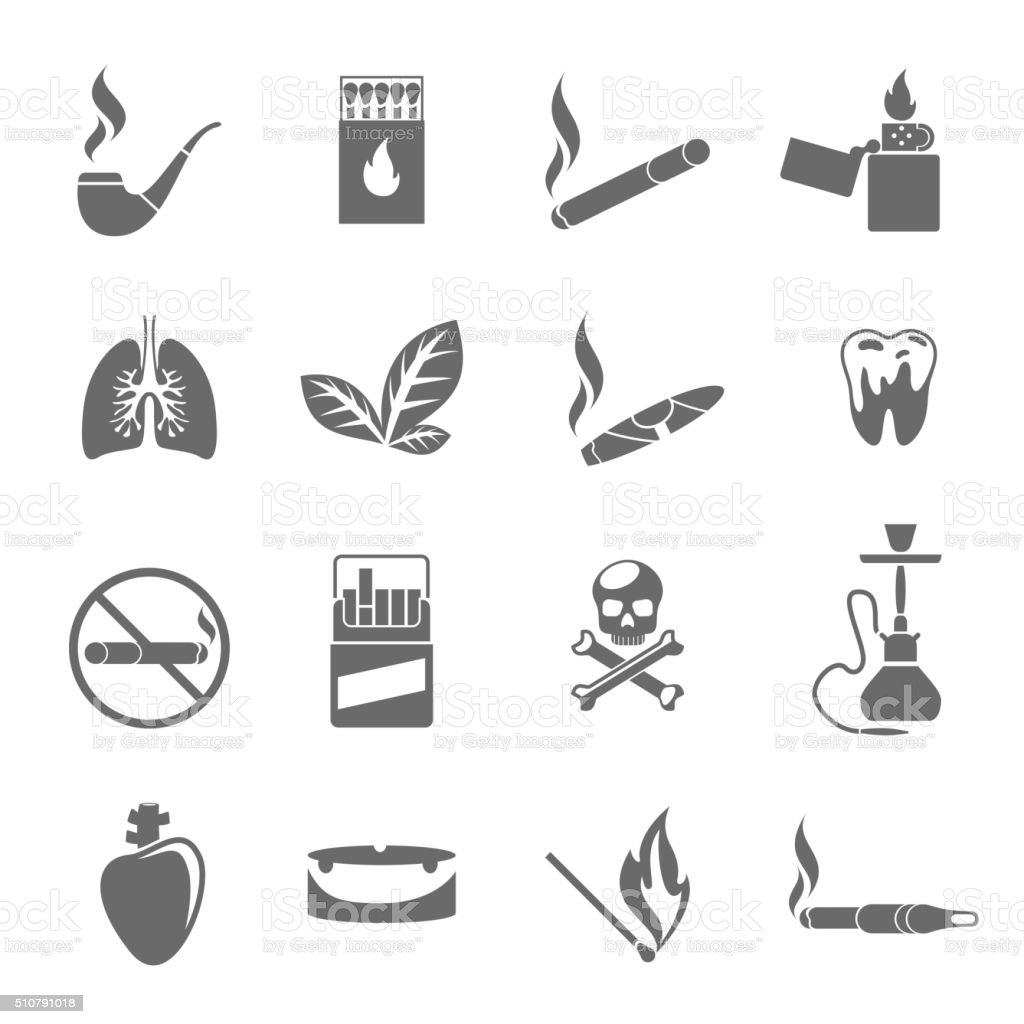 Smoking and tobacco icons vector vector art illustration
