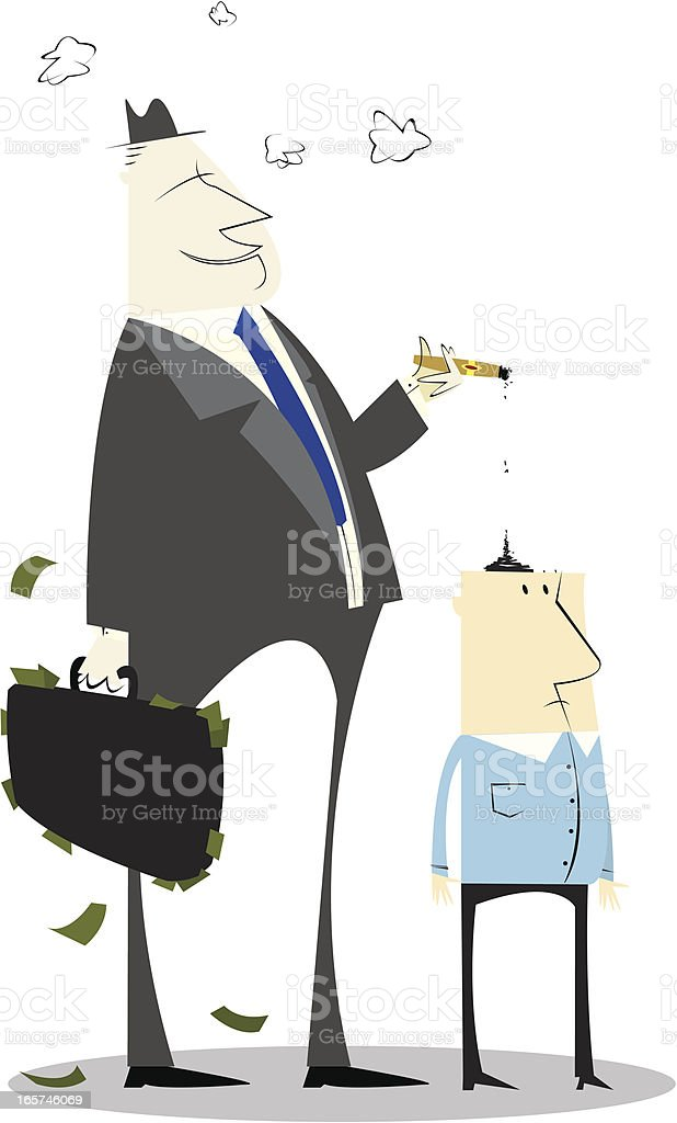 Smoking Business Man vector art illustration