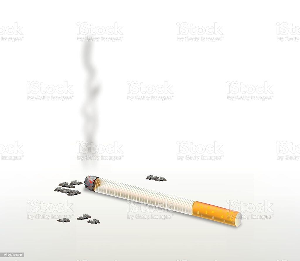 Smoking cigarette . vector art illustration