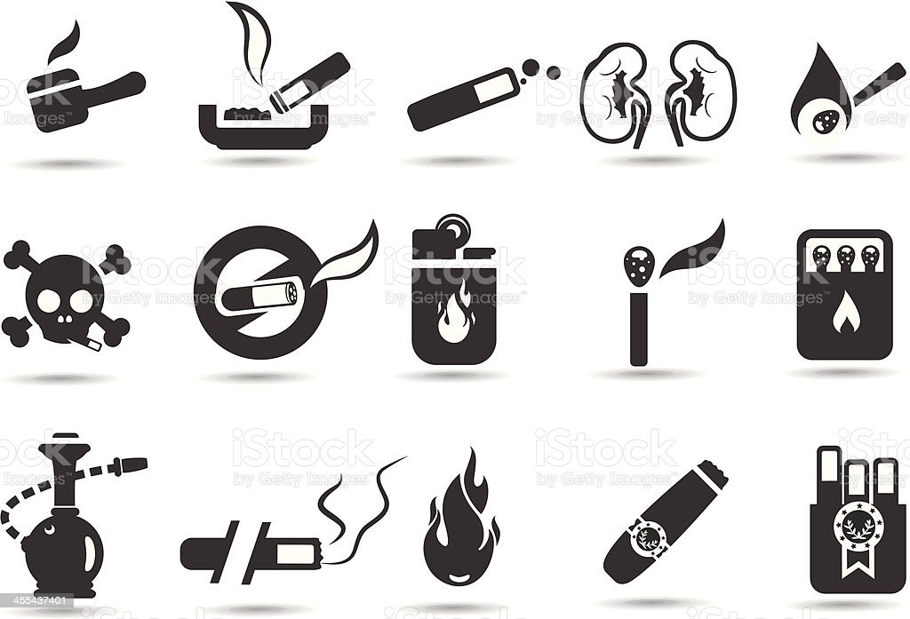 Smoking Icon Set vector art illustration