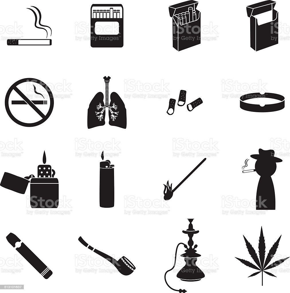 Smoking icons set vector art illustration