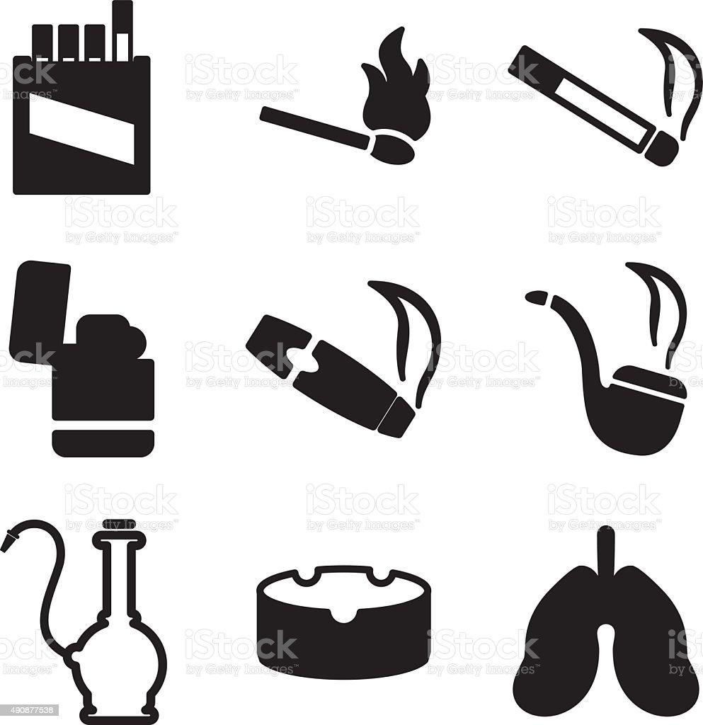 Smoking Icons vector art illustration
