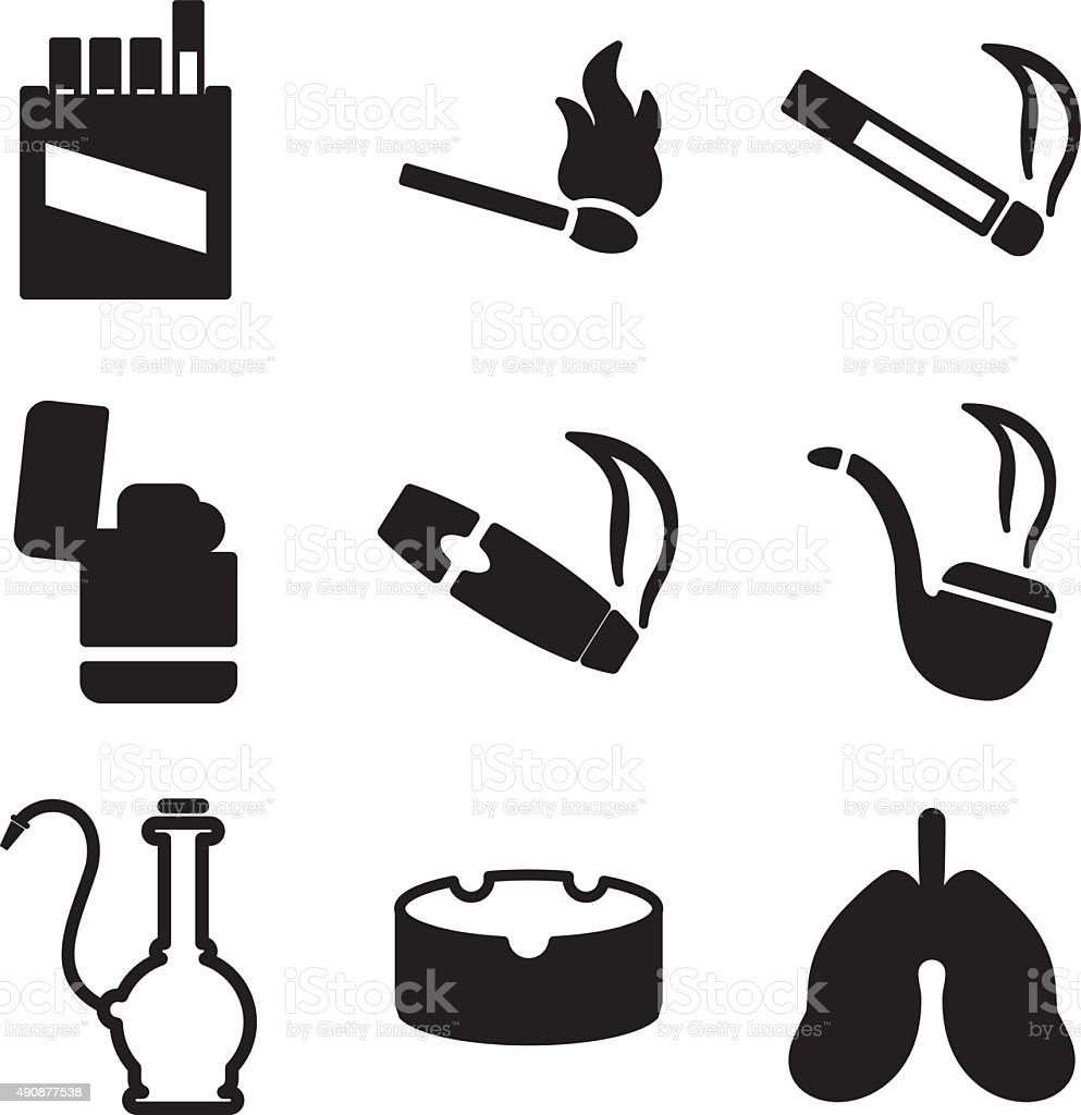 Smoking Icons vector art illustration