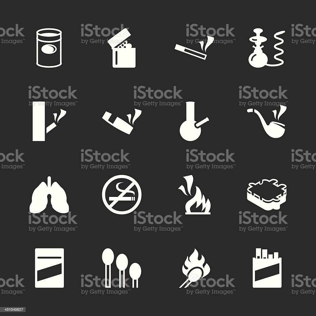 Smoking Icons - White Series | EPS10 royalty-free stock vector art